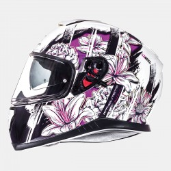 CASCO MT THUNDER 3 SV WILD GARDEN PERLA BLANCO BRILLO